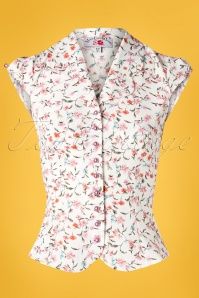 Miss Candyfloss 28654 White Floral Blouse 20190220 003W
