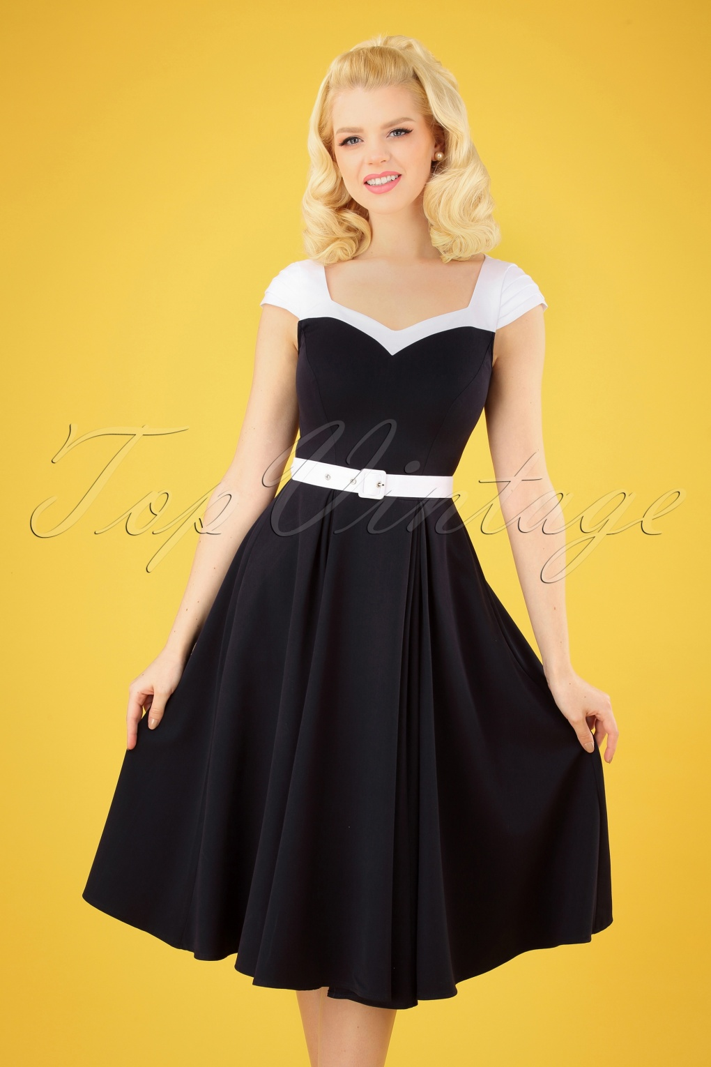 Vintage Cruise Outfits, Vacation Clothing 50s Merryweather Swing Dress in Navy and White £81.93 AT vintagedancer.com