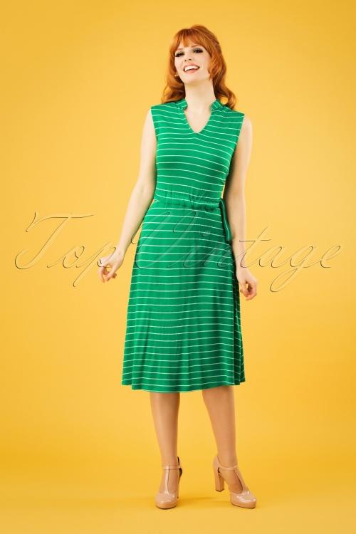 Pretty Vacant 27544 Drawstring Green Striped Dress 20190218 1W