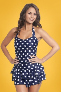 50s Classic Polkadot Halter Swimsuit in Navy and White