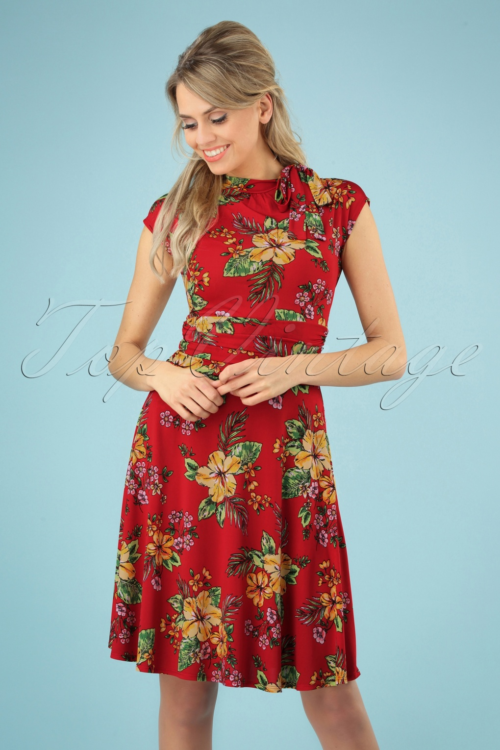 New Fifties Dresses | 50s Inspired Dresses 50s Audrey Tiki Floral Bombshell Dress in Red �61.78 AT vintagedancer.com