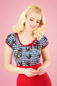 Sassy Sally 50s Leona Sailor Top in Blue and White Stripes