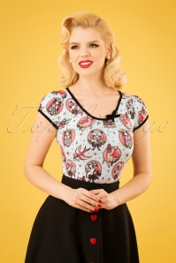 50s Leona Animal Tattoo Top in White