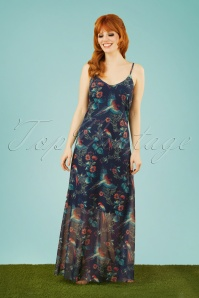 60s Linaria Parrot Maxi Dress in Navy