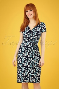50s Sheryl Leafs Dress in Navy