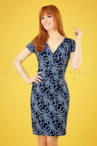 60s Veronique Floral Pencil Dress in Navy and White