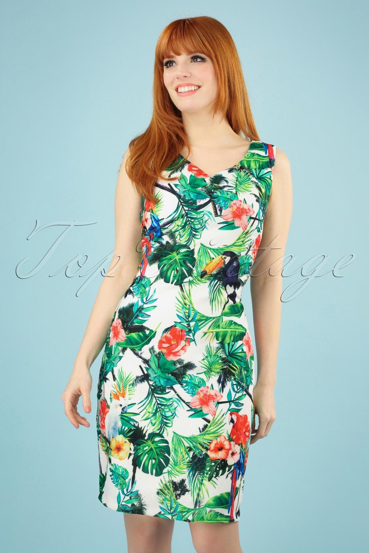 Retro Tiki Dress – Tropical, Hawaiian Dresses 60s Alica Parrot Dress in White £21.84 AT vintagedancer.com