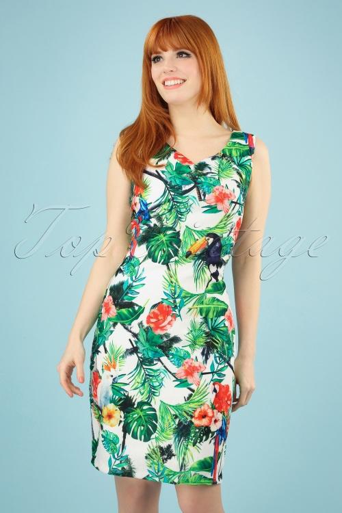 Smashed Lemon 27741 Tropical Parrot Pencil Dress 1 020W