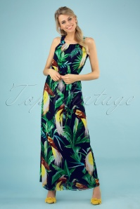 Smashed Lemon 27753 Black Green Tropical Bird Maxi Dress 1 020W