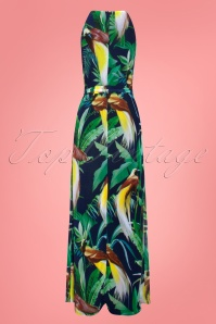 Smashed Lemon 27753 Black Green Tropical Bird Maxi Dress 2W