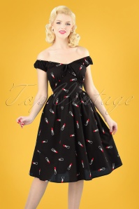 50s Delia Lipstick Embroidery Swing Dress in Black