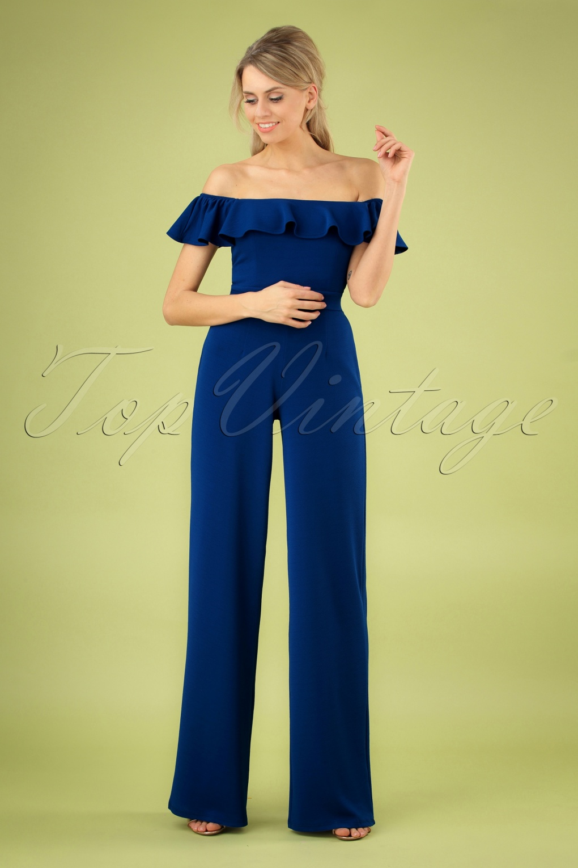 60s – 70s Pants, Jeans, Hippie, Bell Bottoms, Jumpsuits 70s Hedi Jumpsuit in Royal Blue �79.41 AT vintagedancer.com