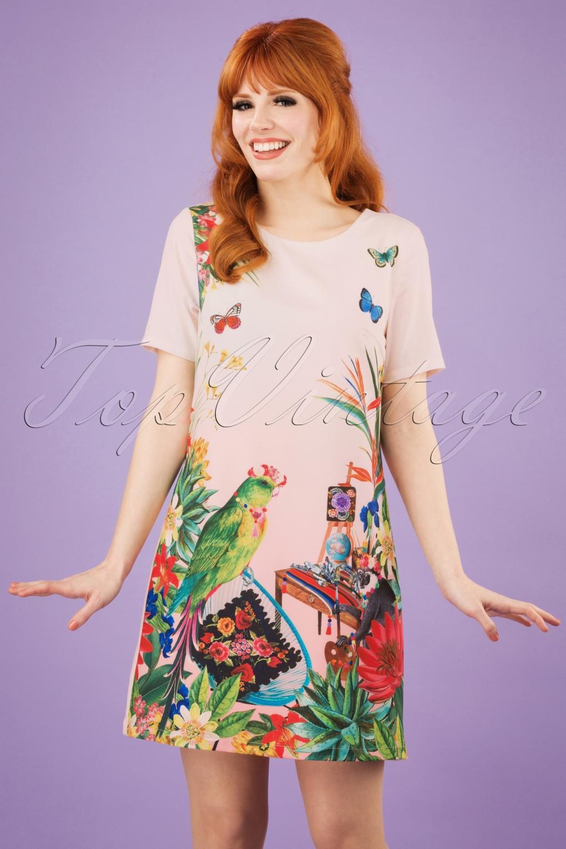 Retro Tiki Dress – Tropical, Hawaiian Dresses 60s Mexicana Flower Tunic Dress in Light Coral £46.84 AT vintagedancer.com