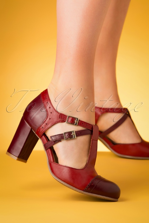 La Veintineuve 28433 Heels Pumps Tstrap Red Purple Brown 20190402 009 W
