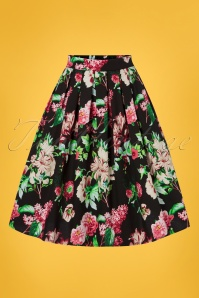 50s Yara Floral Swing Skirt in Black