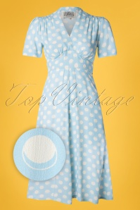 The Seamstress of Bloomsbury 29500 Dolores Blue Spot Dress 20190405 002Z