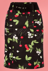 50s Millie Cherry Pencil Skirt in Black