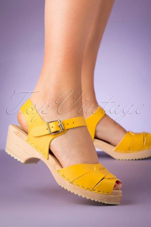 Lotta From Stockholm 28892 Clocks Yellow Low Peeptoe Heels Klompjes 20190402 007 W