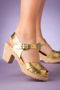 60s Loretta Leather Clogs in Gold