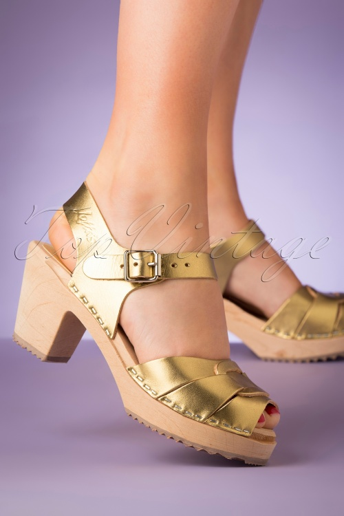 Lotta From Stockholm 28891 Clocks Gold Peeptoe Heels Klompjes 20190402 006 W