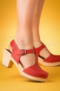 Lotta from Stockholm 60s Highwood T-Strap Leather Clogs in Red