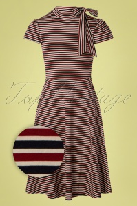 50s Corinna Stripes Swing Dress in Red and Blue