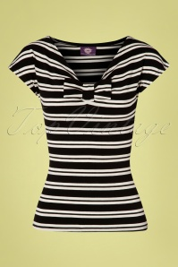 TopVintage Boutique Collection 50s Lacey Stripes Top in Black and Cream