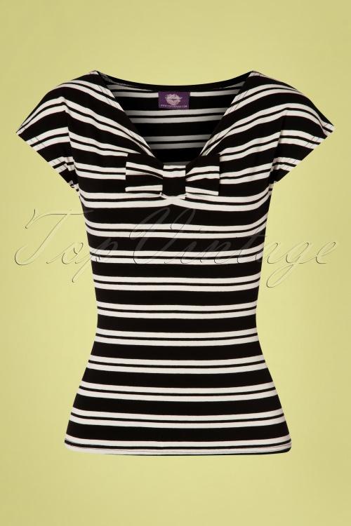 TopVintage Boutique Collection 30034 Black Cream Striped Top 20190404 002W