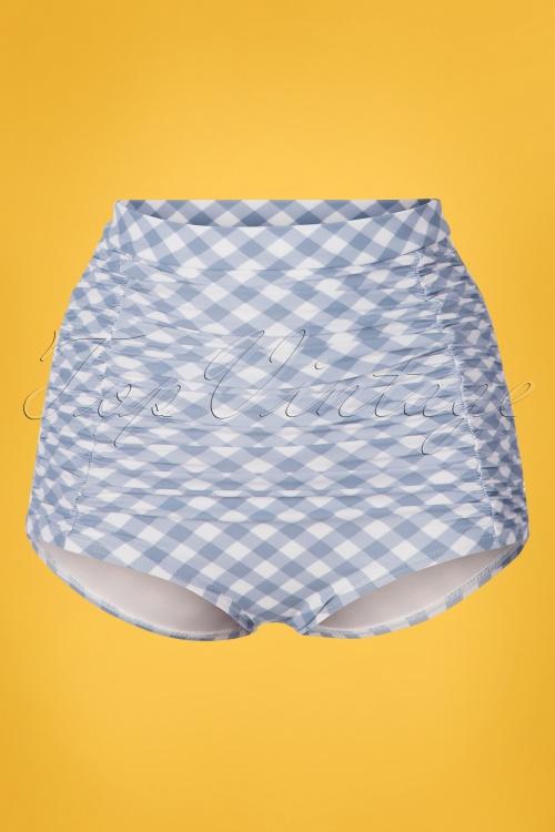 Unique Vintage 28582 Bikini Pants Monroe checked blue white 20190408 0004W