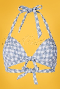Unique Vintage 50s Monroe Gingham Swim Top in Blue and White