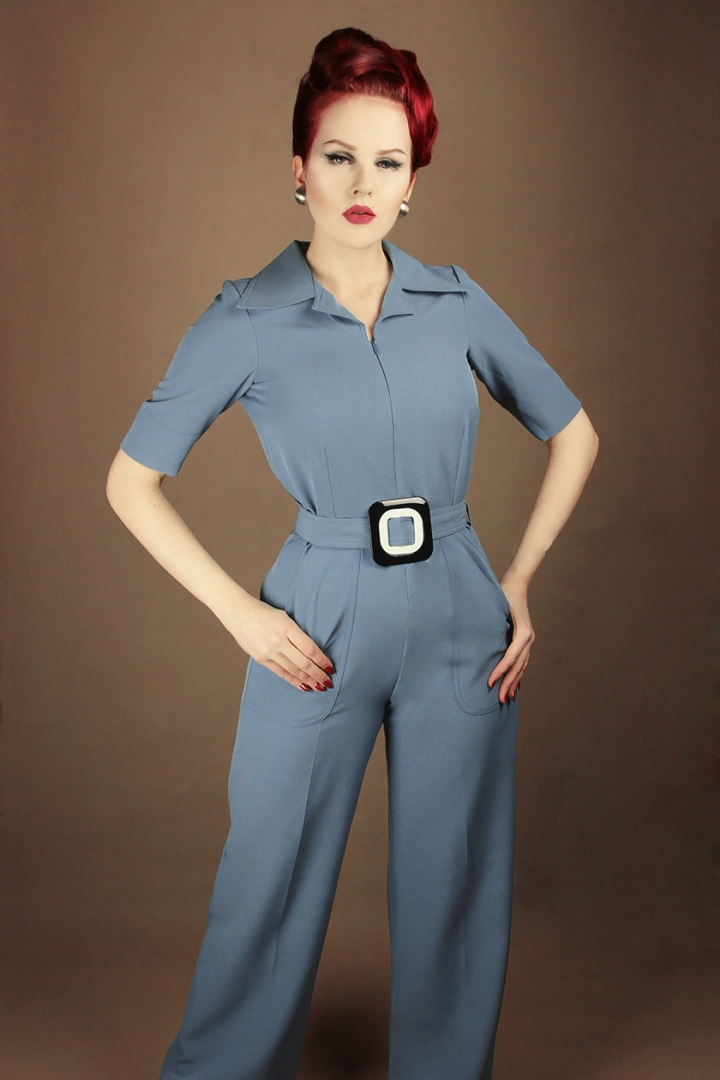 70s Outfits – 70s Style Ideas for Women 60s Vintage Baby Jumpsuit in Stone Blue �129.85 AT vintagedancer.com