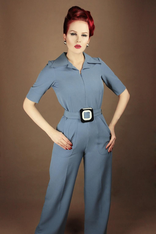 60s – 70s Pants, Jeans, Hippie, Bell Bottoms, Jumpsuits 60s Vintage Baby Jumpsuit in Stone Blue �129.85 AT vintagedancer.com