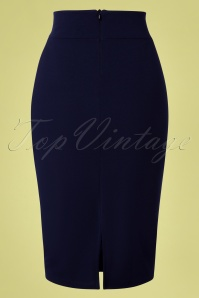 Vintage Chic 29668 Pencil Skirt Navy 20190408 0009W