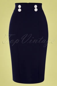 50s Leanna Pencil Skirt in Navy