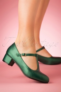 Lulu Hun 60s Chrissie T-Strap Pumps in Emerald Green