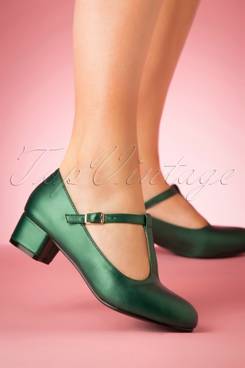 Lulu Hun 21706 Heels Green Pumps 60s Chrissie Tstrap 20190402 002 W