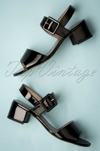 60s Trina Patent Sandals in Black