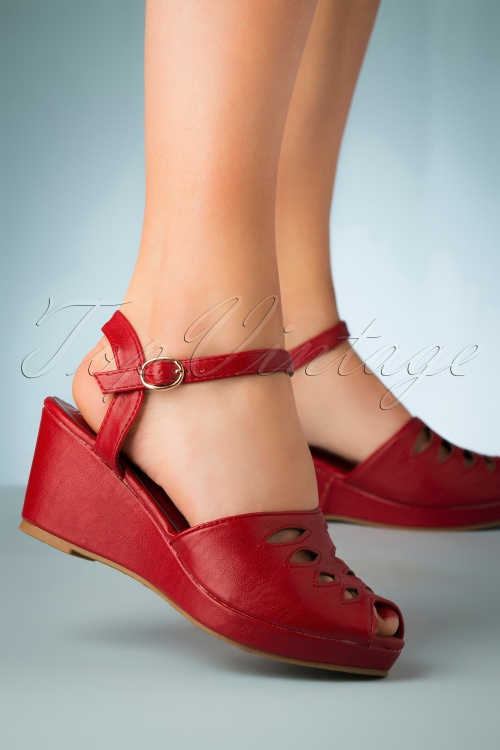 Lulu Hun 27350 Heels Wedge Pumps Peeptoe Lily Red Strap 20190402 003W