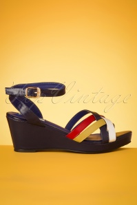 60s Nanda Wedge Sandals in Navy