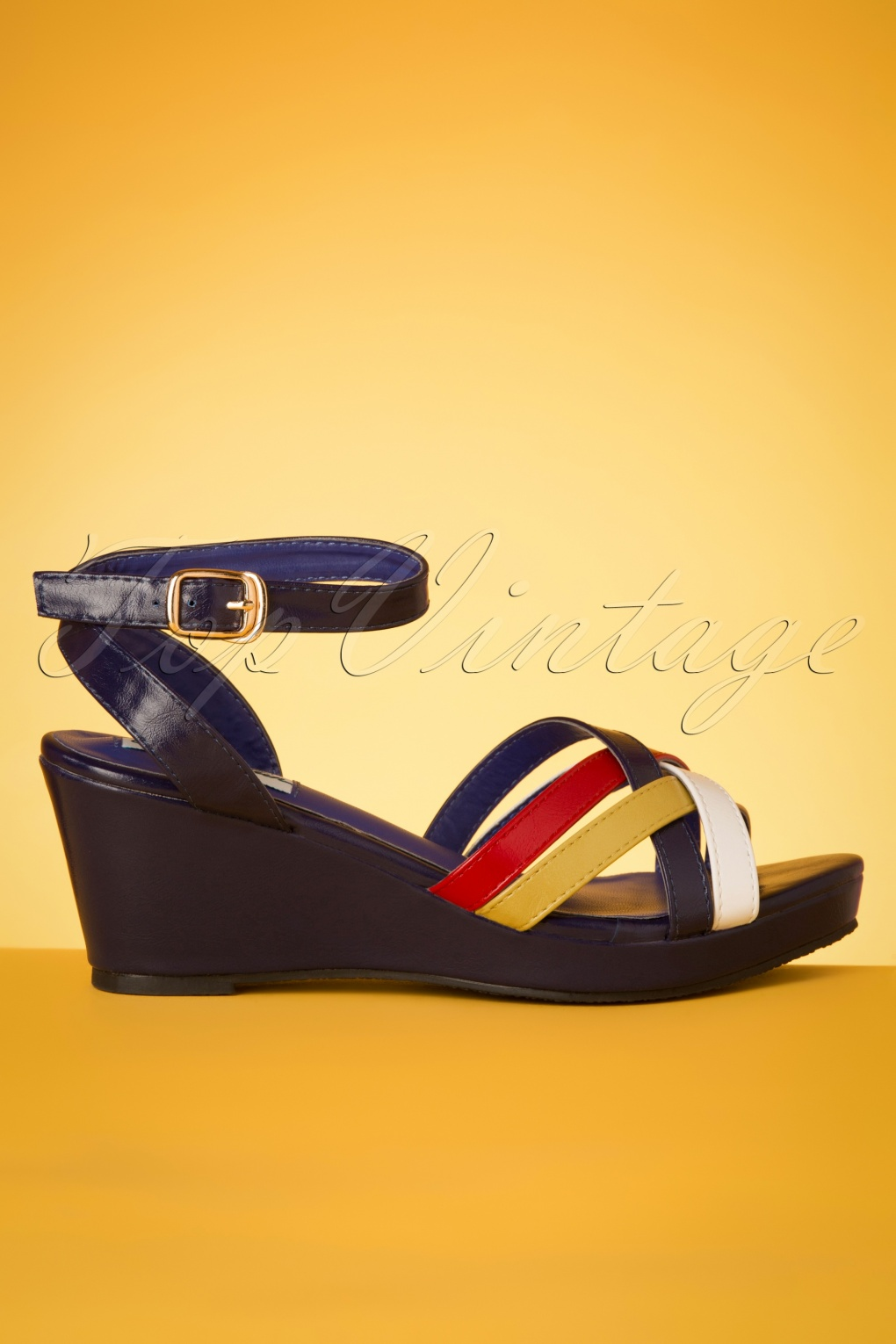 1960s Shoes: 8 Popular Shoe Styles 60s Nanda Wedge Sandals in Navy £38.00 AT vintagedancer.com