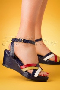 Lulu Hun 27351 Blue Heels Pumps Red Yellow Wedge Red 20190402 007 W