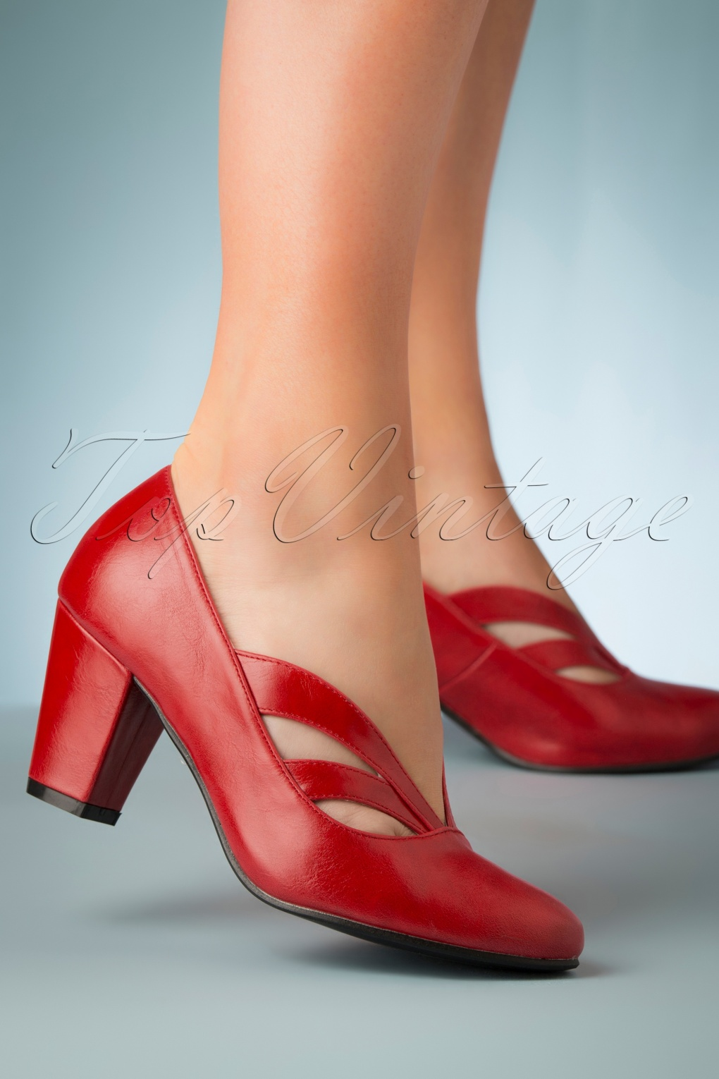 Pin Up Shoes- Heels, Pumps & Flats 40s Layla Pumps in Red £45.79 AT vintagedancer.com