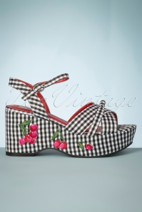 60s Twinnie Cherry Wedge Sandals in Black and White