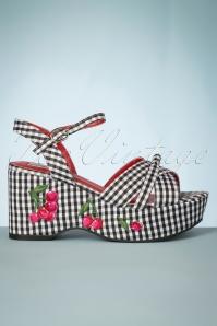 Twinnie Cherry Wedge Sandals Années 60 en Noir et Blanc