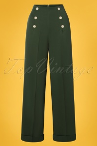 Banned Retro 40s Adventures Ahead Button Trousers in Forest Green