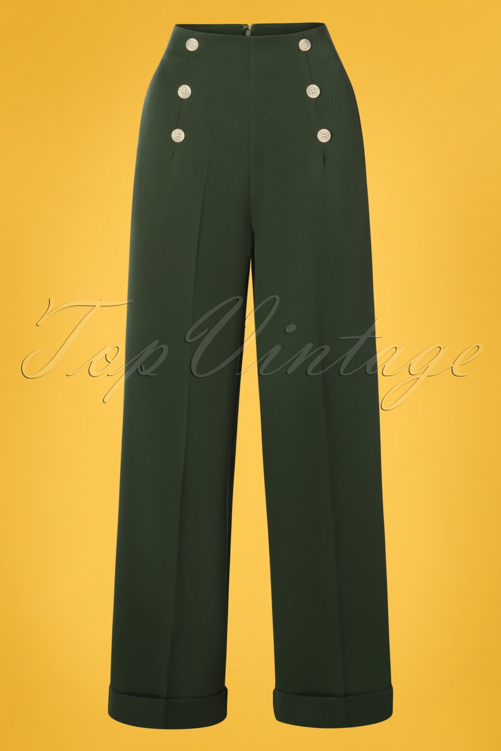 1940s Dresses and Clothing UK | 40s Shoes UK 40s Adventures Ahead Button Trousers in Forest Green �43.19 AT vintagedancer.com