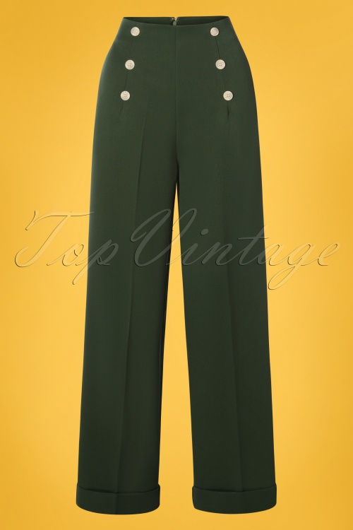 Banned Retro 30393 Trousers Forest Green Adventures 20190409 0002W