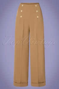 40s Adventures Ahead Button Trousers in Tan