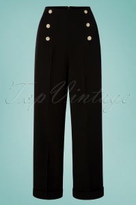40s Adventures Ahead Button Trousers in Black