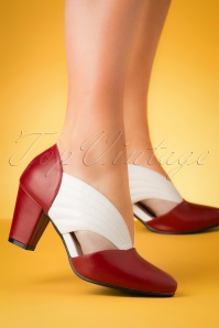 40s Tanya Pumps in Red and White